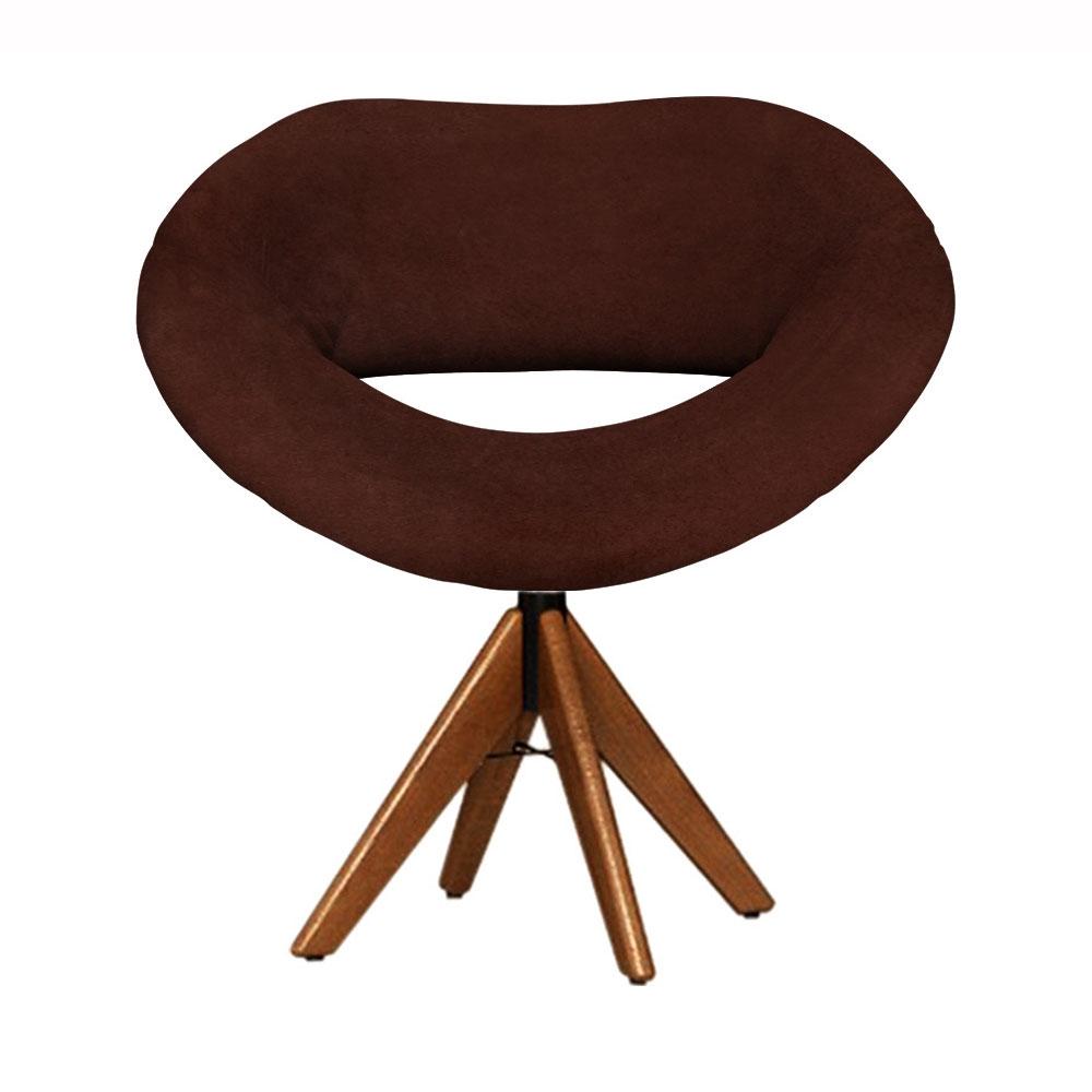 Cadeira Decorativa Beijo Marrom Base Giratória Madeira