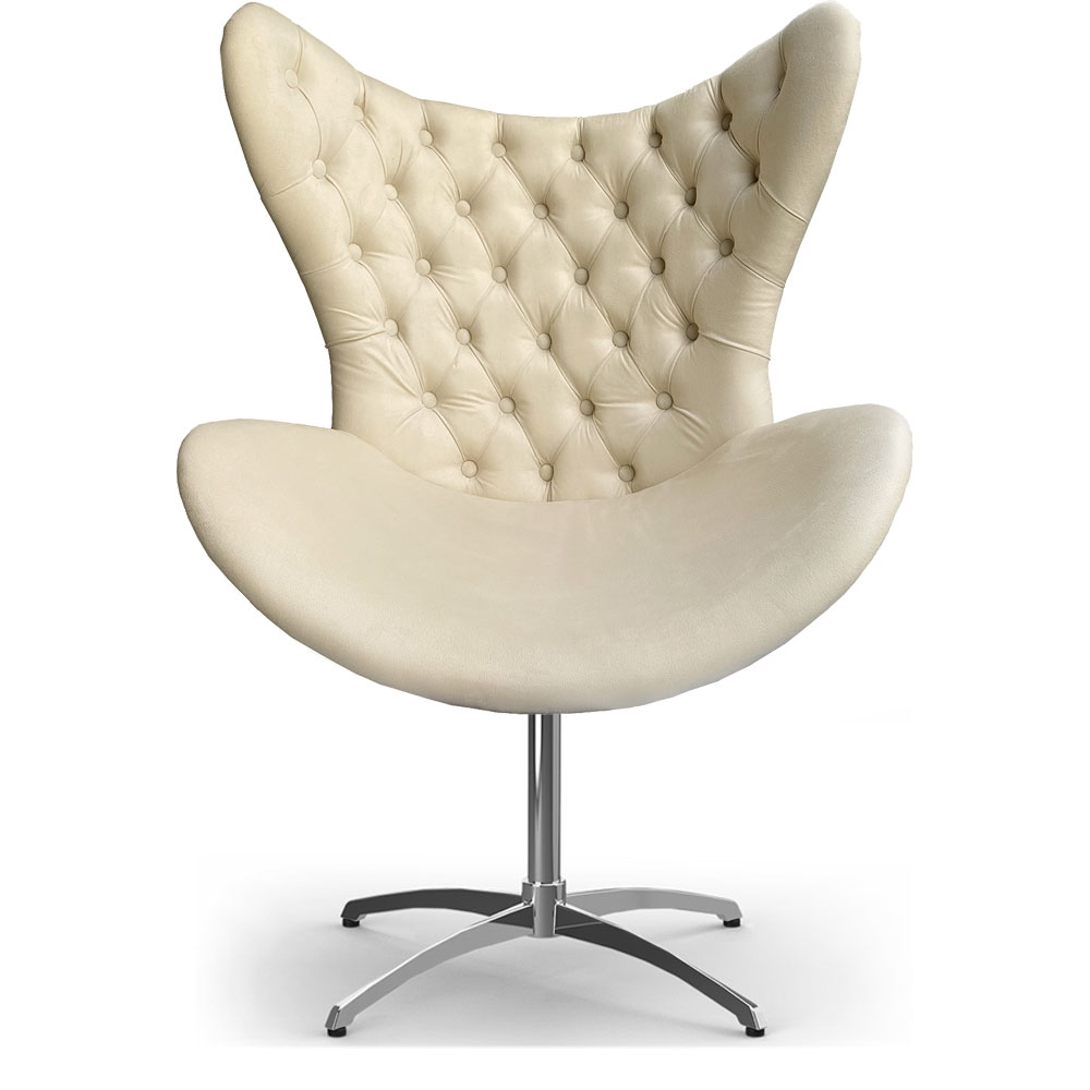 Cadeira Decorativa Com Capitonê Big Egg Bege Giratória