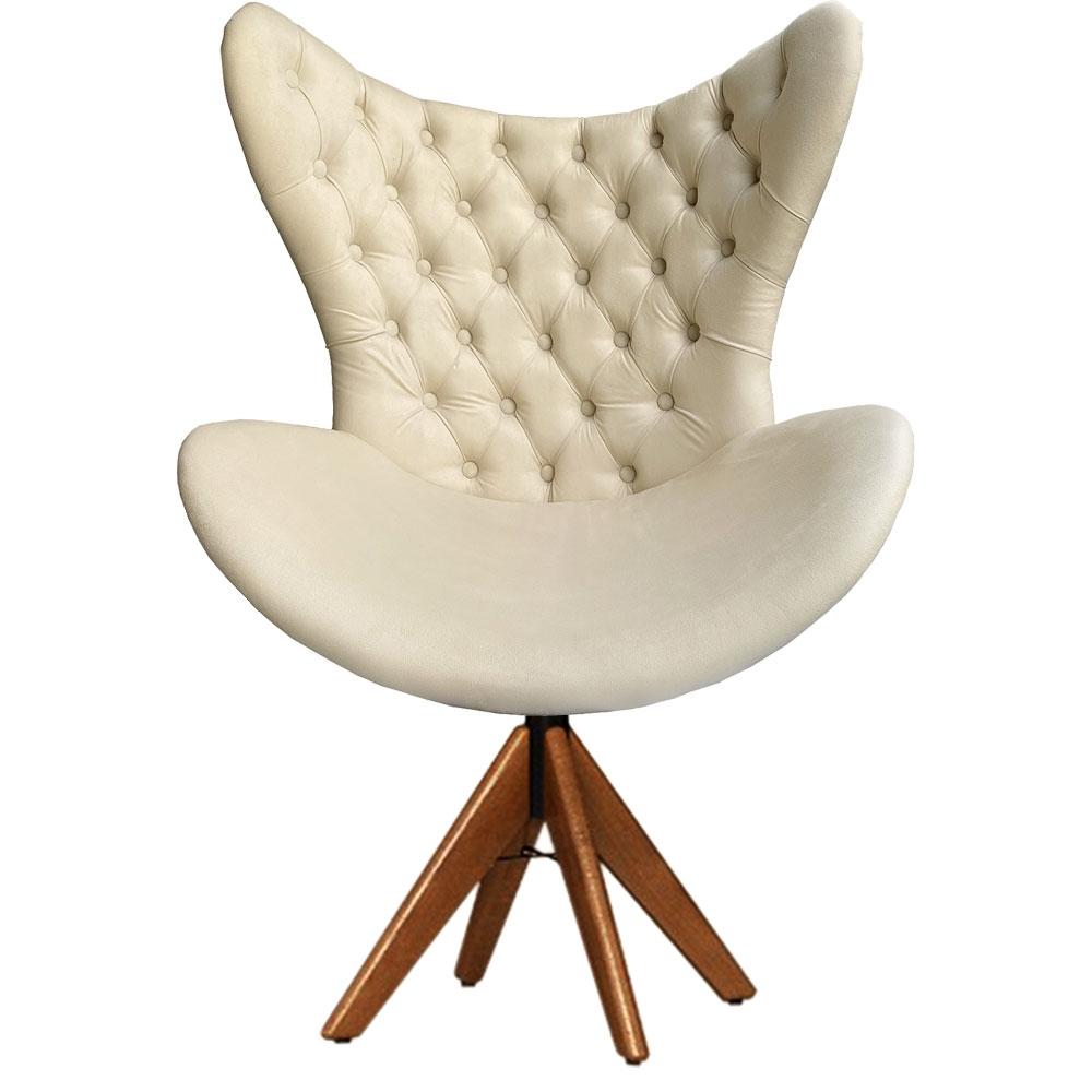 Cadeira Decorativa Com Capitonê Big Egg Bege Giratória Madeira