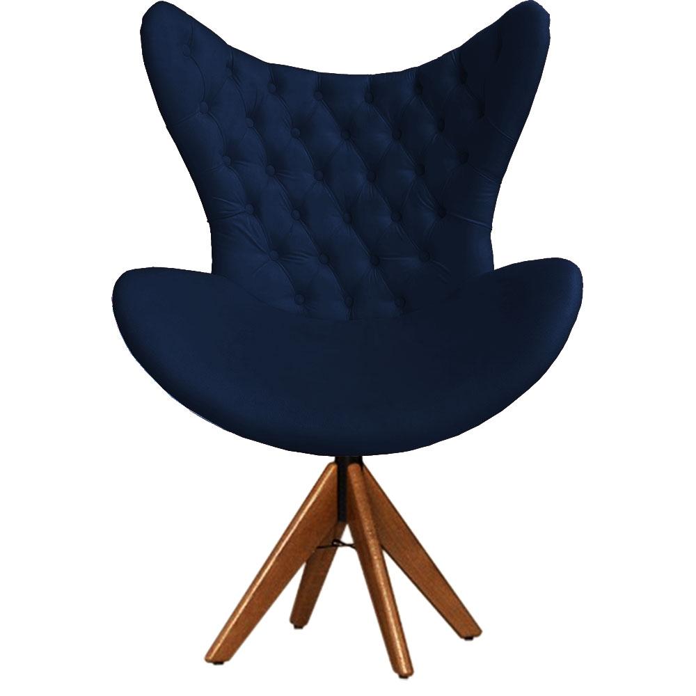 Cadeira Decorativa Com Capitonê Big Egg Marinho Giratória Madeira