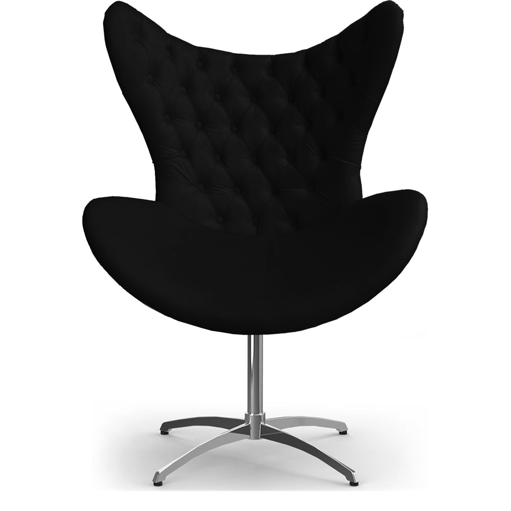Cadeira Decorativa Com Capitonê Big Egg Preta Giratória