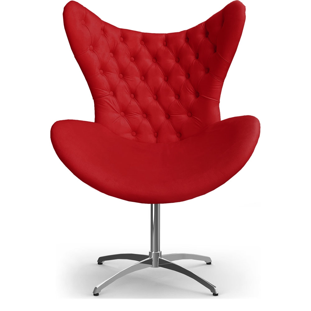 Cadeira Decorativa Com Capitonê Big Egg Vermelha Giratória