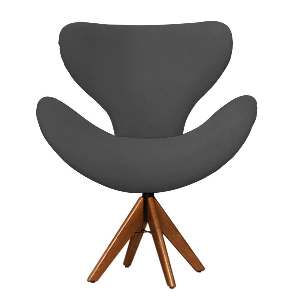 Cadeira Decorativa Egg Cinza Com Base Giratória Madeira