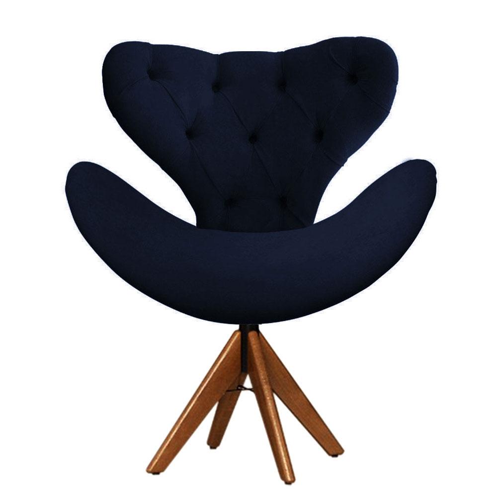 Cadeira Decorativa Egg Com Capitonê Azul Marinho Giratória Madeira