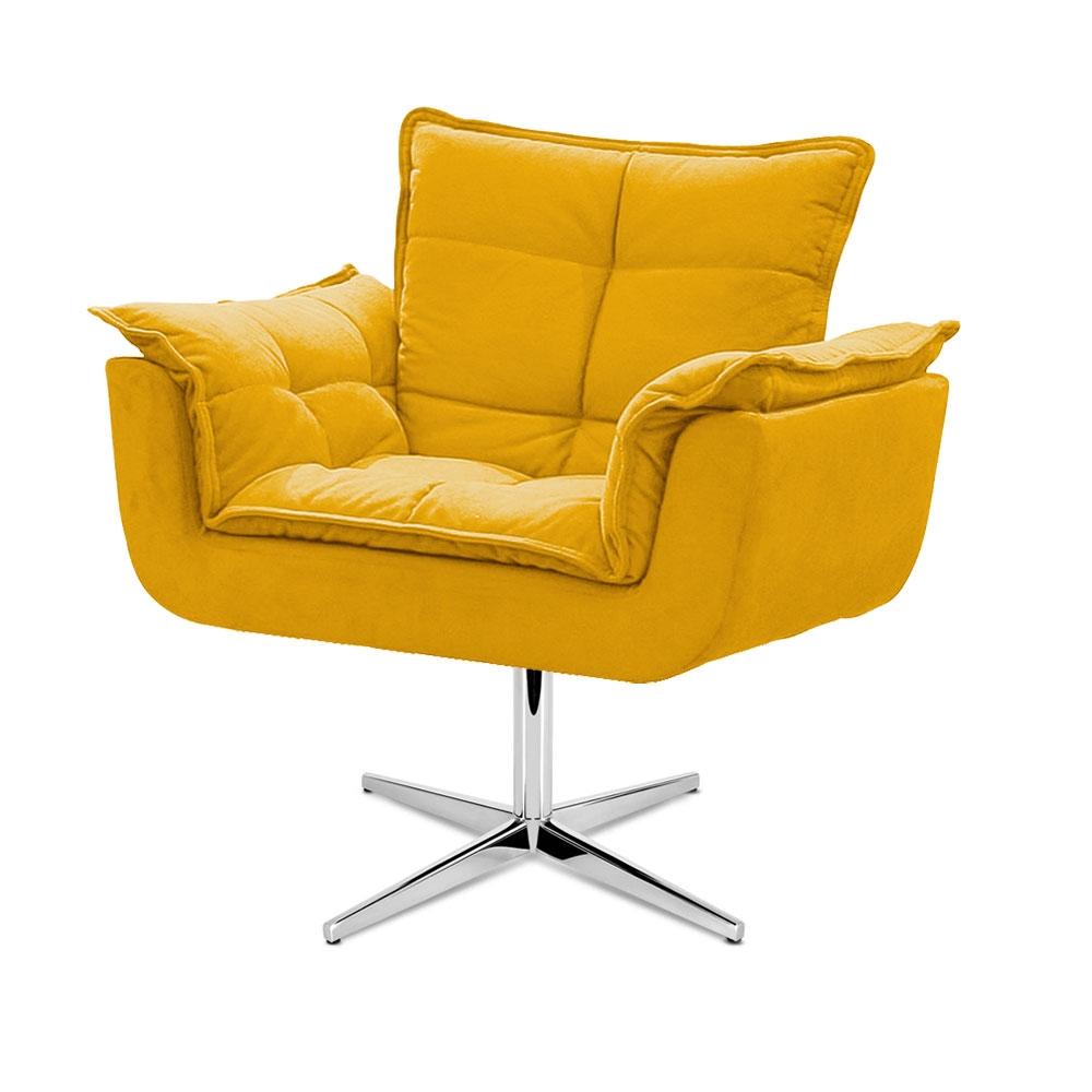 Cadeira Decorativa Opala Amarela Base Giratória