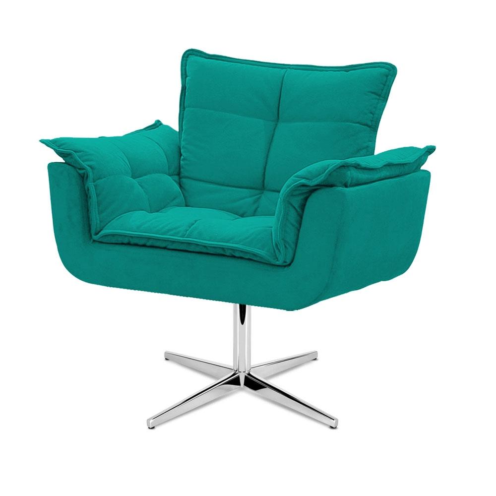 Cadeira Decorativa Opala Azul Turquesa Base Giratória