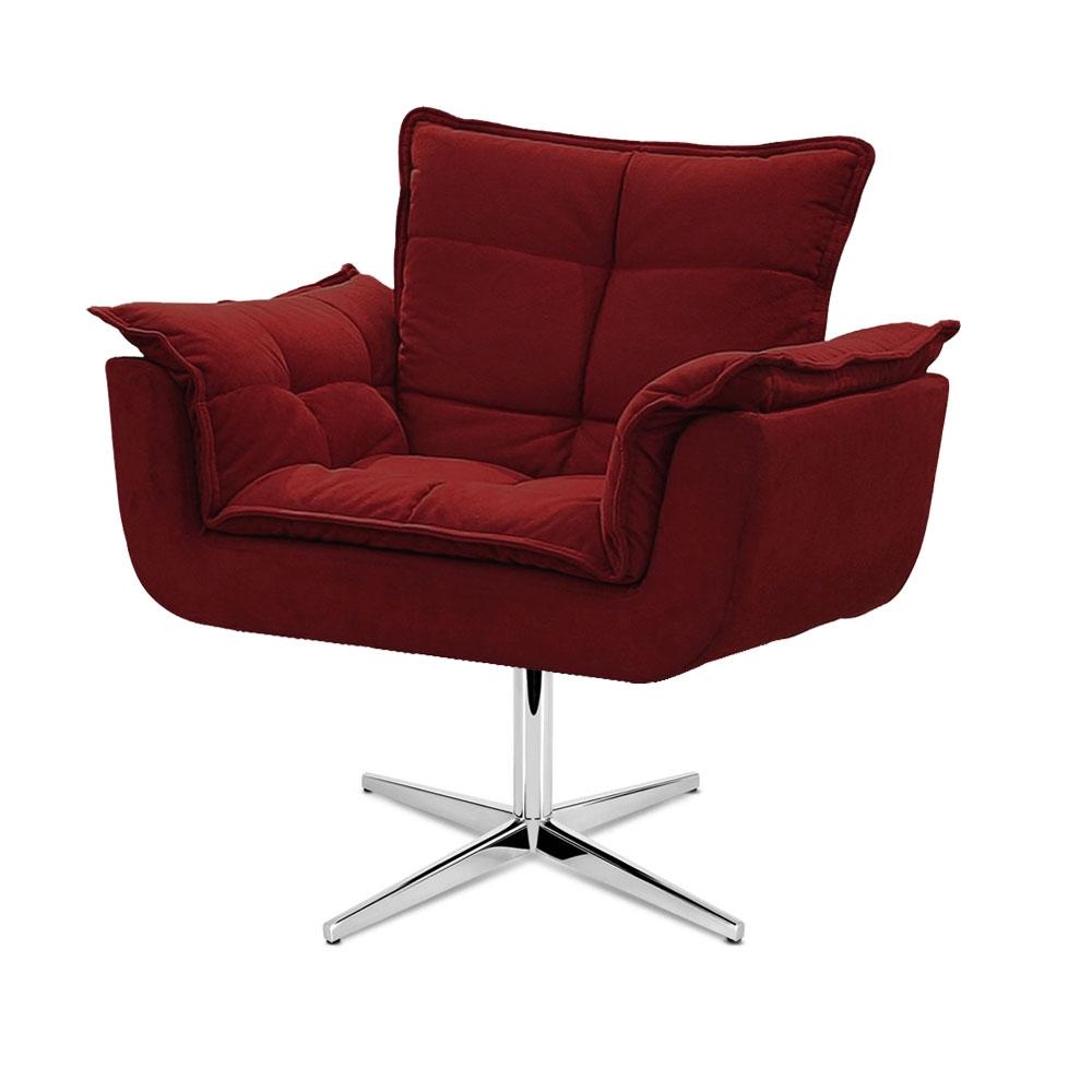 Cadeira Decorativa Opala Vermelho Bordô Base Giratória