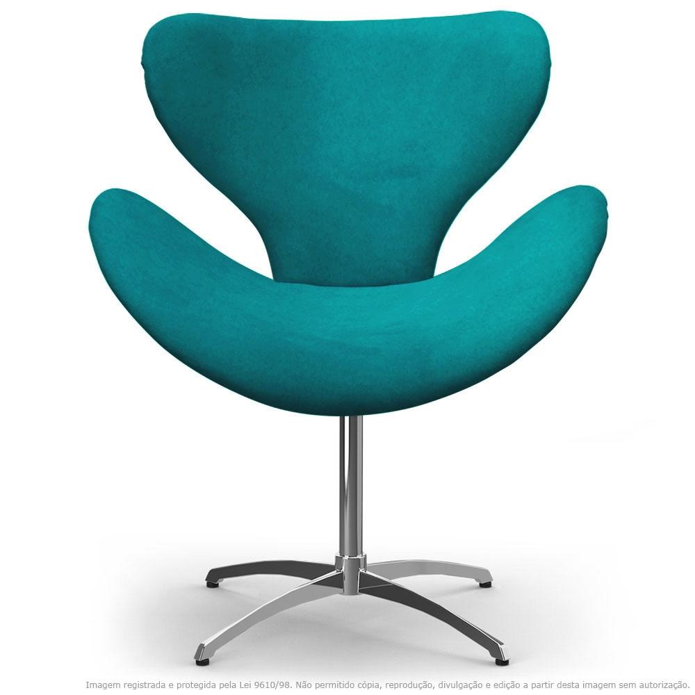 Cadeira Decorativa Poltrona Egg Azul Turquesa com Base Giratória