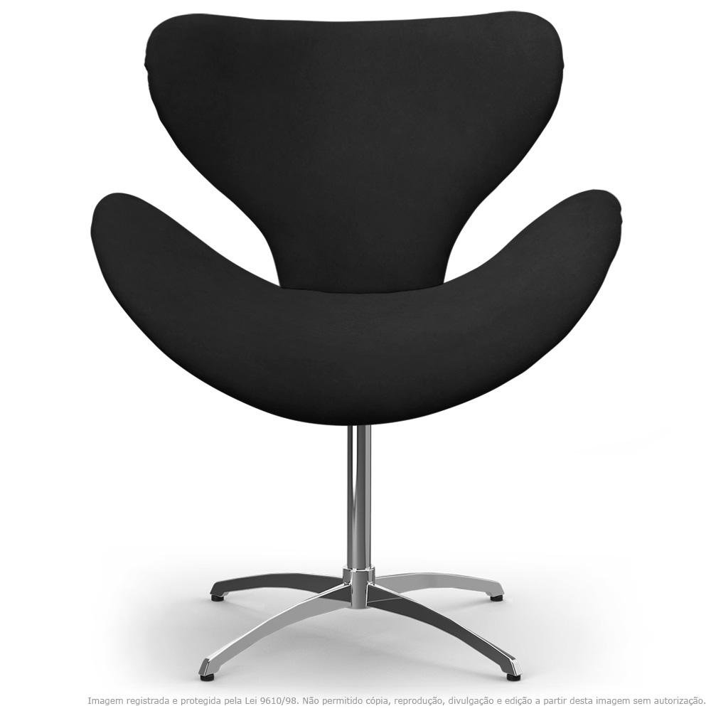 Cadeira Decorativa Poltrona Egg Preta com Base Giratória