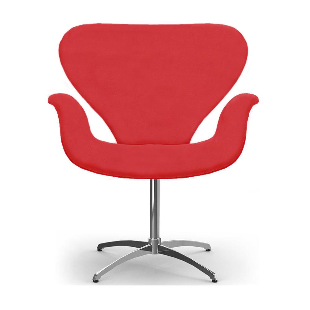 Cadeira Decorativa Poltrona Tulipa Vermelha Base Giratória