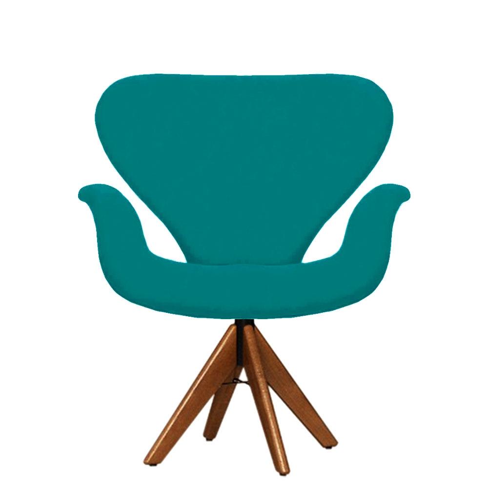 Cadeira Decorativa Tulipa Azul Turquesa Giratória Madeira