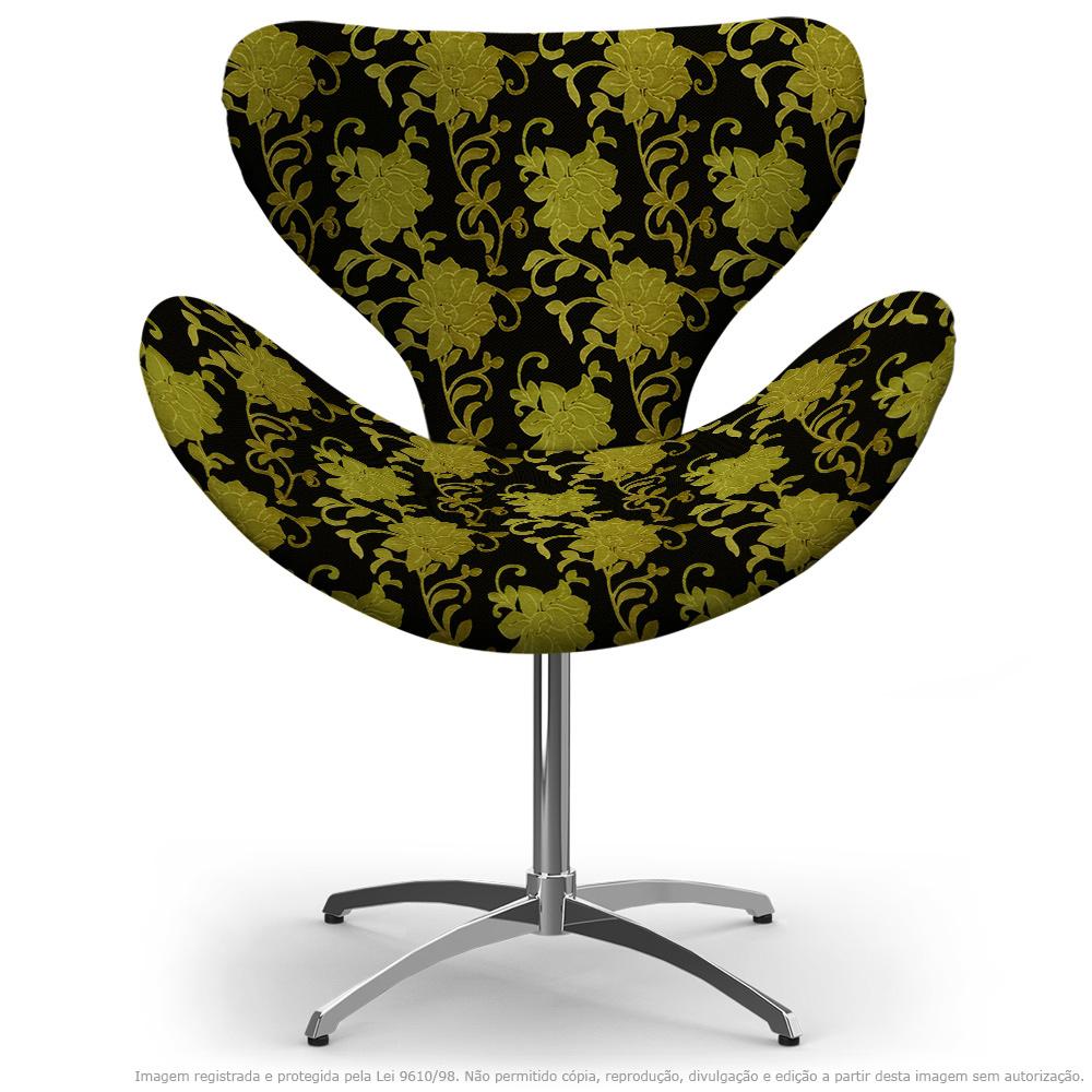Cadeira Egg Floral Amarelo e Preto Poltrona Decorativa com Base Giratória