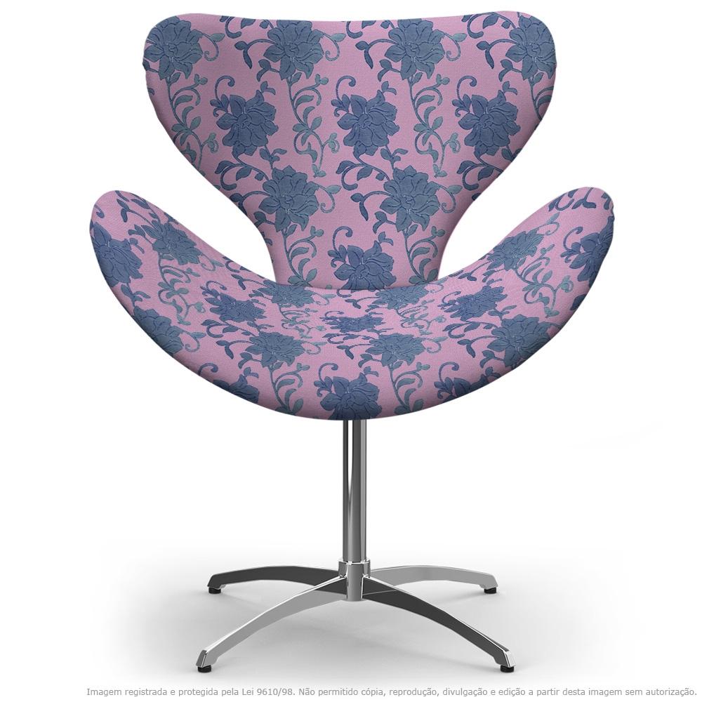 Cadeira Egg Floral Lilás e Rosa Poltrona Decorativa com Base Giratória