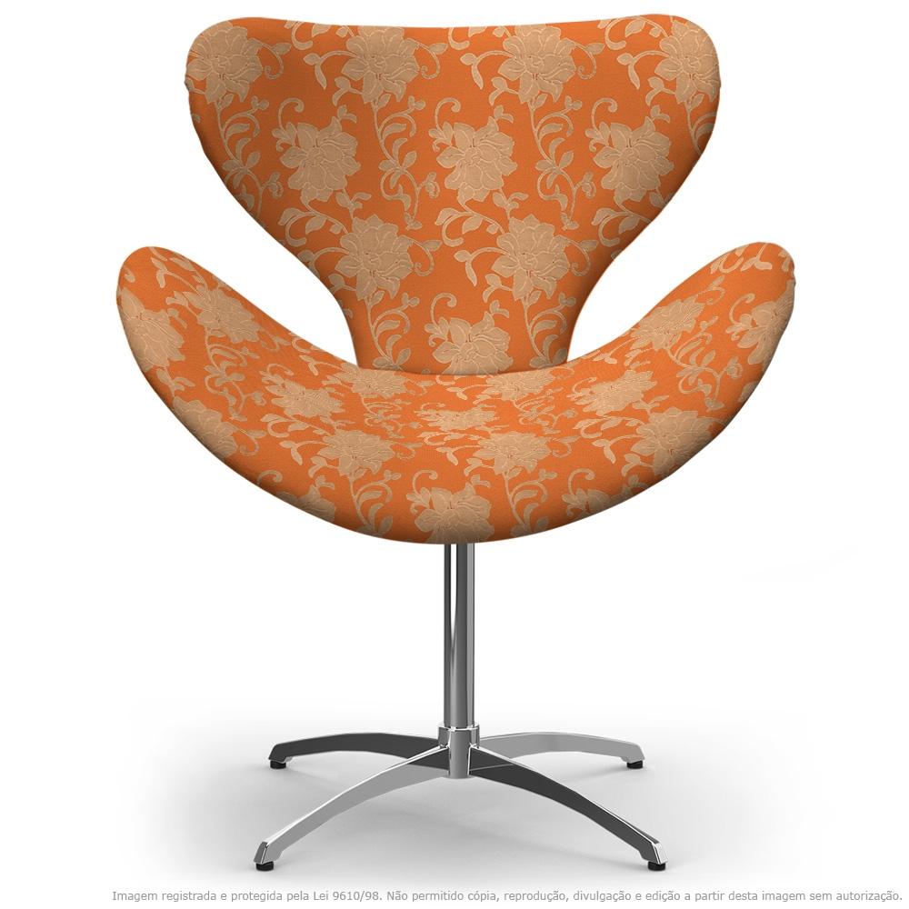 Cadeira Egg Floral Marrom e Laranja Poltrona Decorativa com Base Giratória