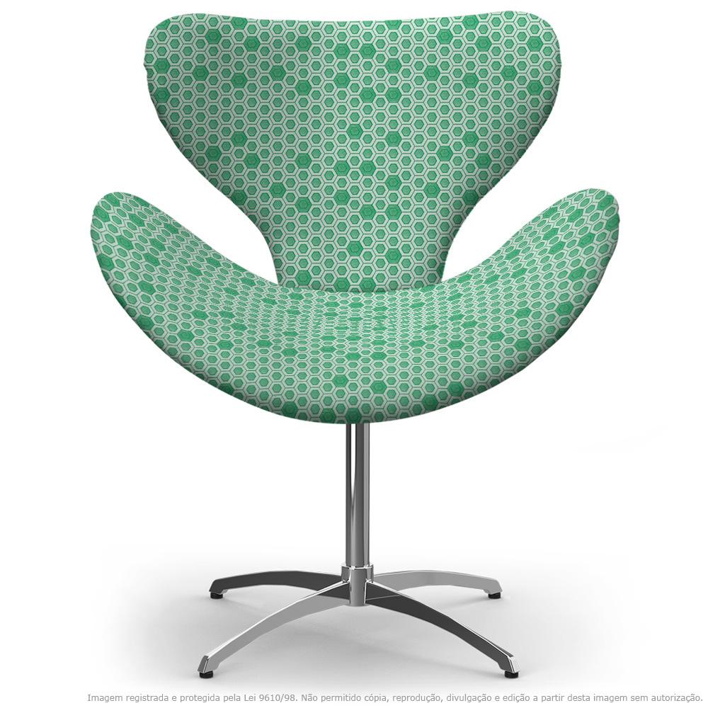 Cadeira Egg Verde Colmeia Poltrona Decorativa com Base Giratória