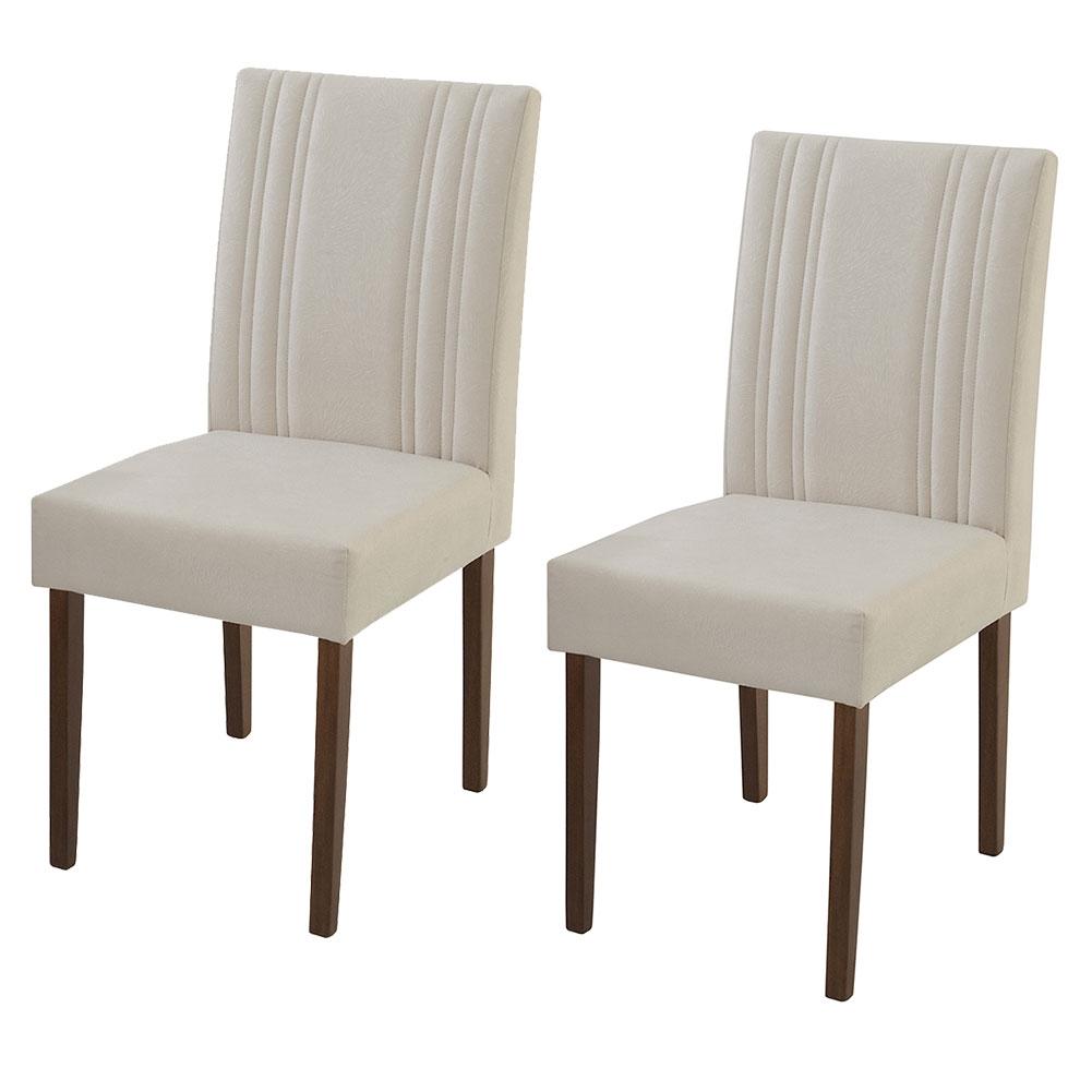 Conjunto 2 Cadeiras De Jantar Estofadas Natal Madeira Maciça Greice Móveis