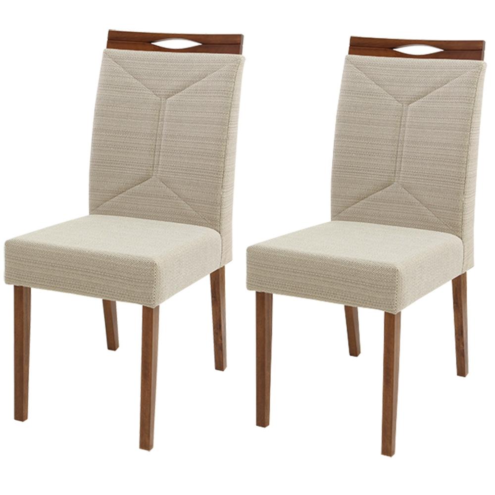 Conjunto 2 Cadeiras De Jantar Maia Com Cambota Madeira Maciça Greice Móveis