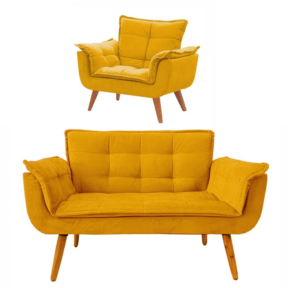 Conjunto de Poltronas 1 Opala e 1 Namoradeira Amarela