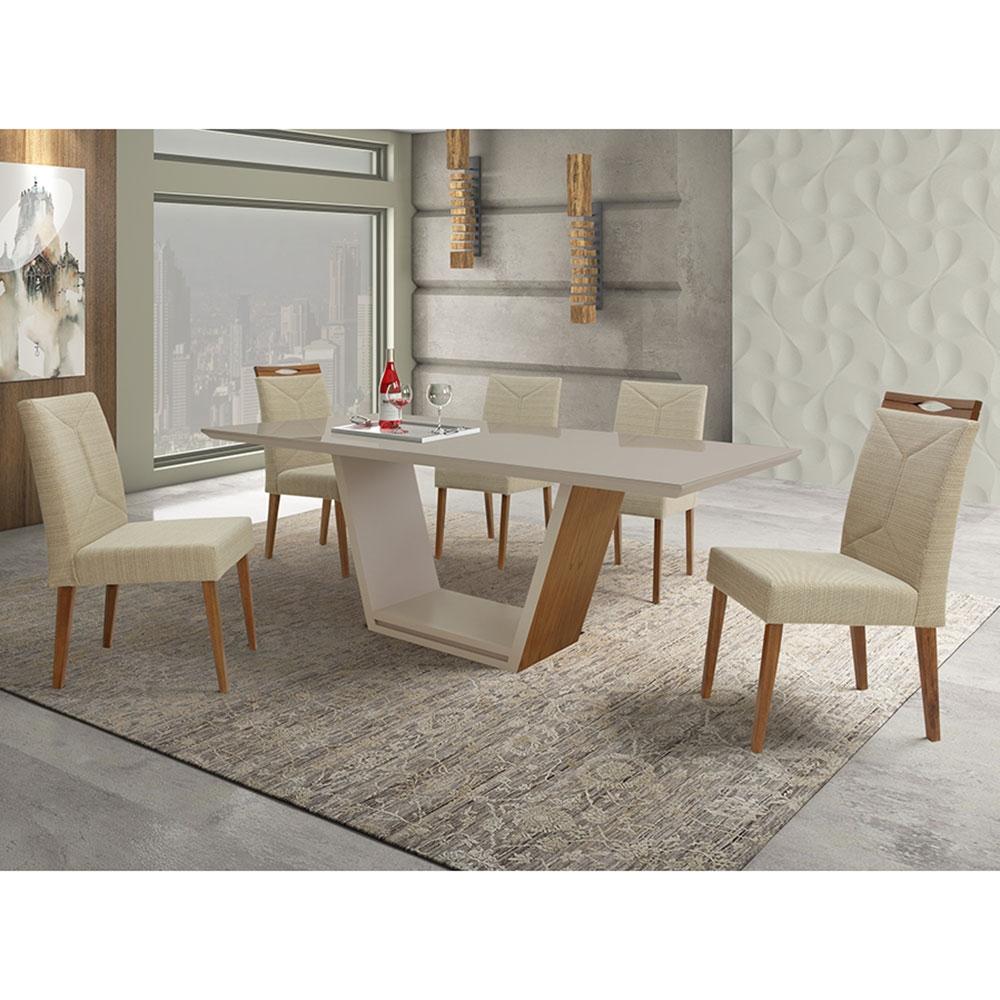 Conjunto Sala De Jantar Munique Maia Mesa e 6 Cadeiras Madeira Maciça Greice Móveis