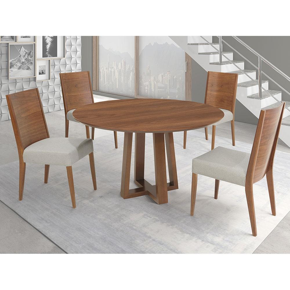 Conjunto Sala De Jantar Premium Mesa e 4 Cadeiras Madeira Greice Móveis