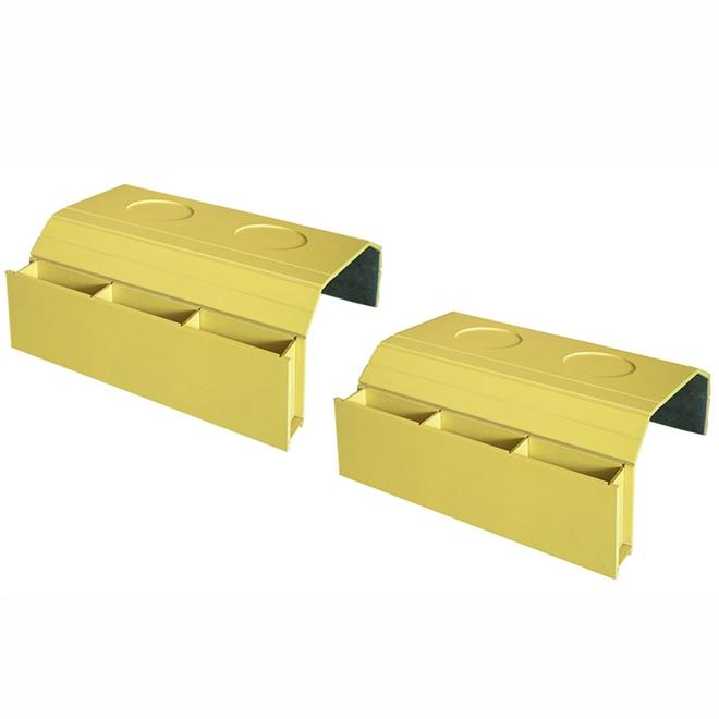 Kit 2 Bandejas Laqueada Para Sofá Porta Copos Com Porta Controle Amarelo