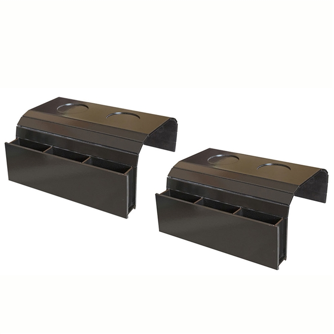 Kit 2 Bandejas Laqueada Para Sofá Porta Copos Com Porta Controle Preto