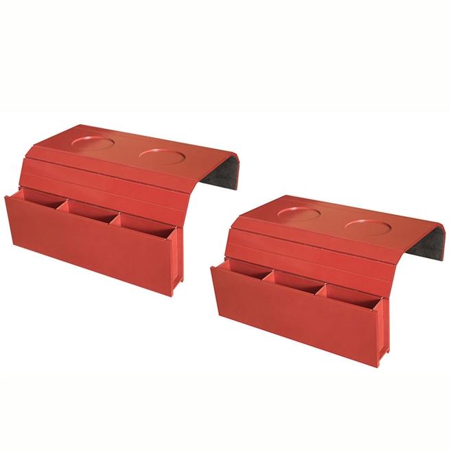 Kit 2 Bandejas Laqueada Para Sofá Porta Copos Com Porta Controle Vermelho