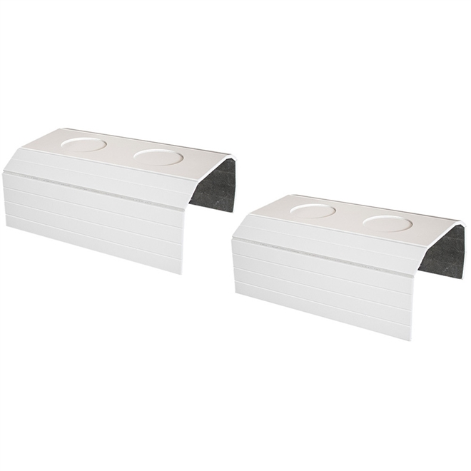 Kit 2 Bandejas Laqueada Porta Copos Para Braço de Sofá Branco