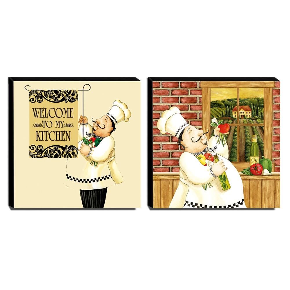 Kit 2 Quadros Cozinha Vintage Cozinheiro Canvas 30x30cm-COZ22-AD