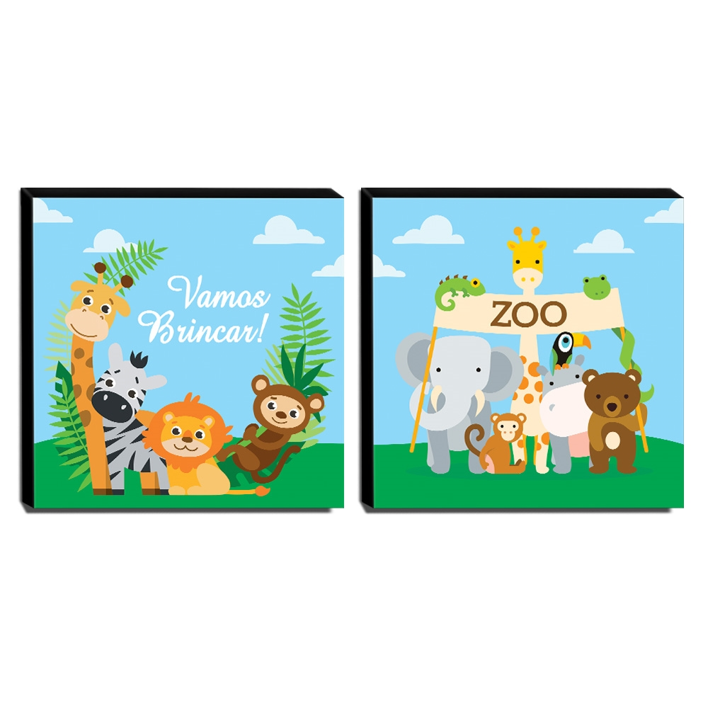 Kit 2 Quadros Infantis Animais Canvas 30x30cm-INF253
