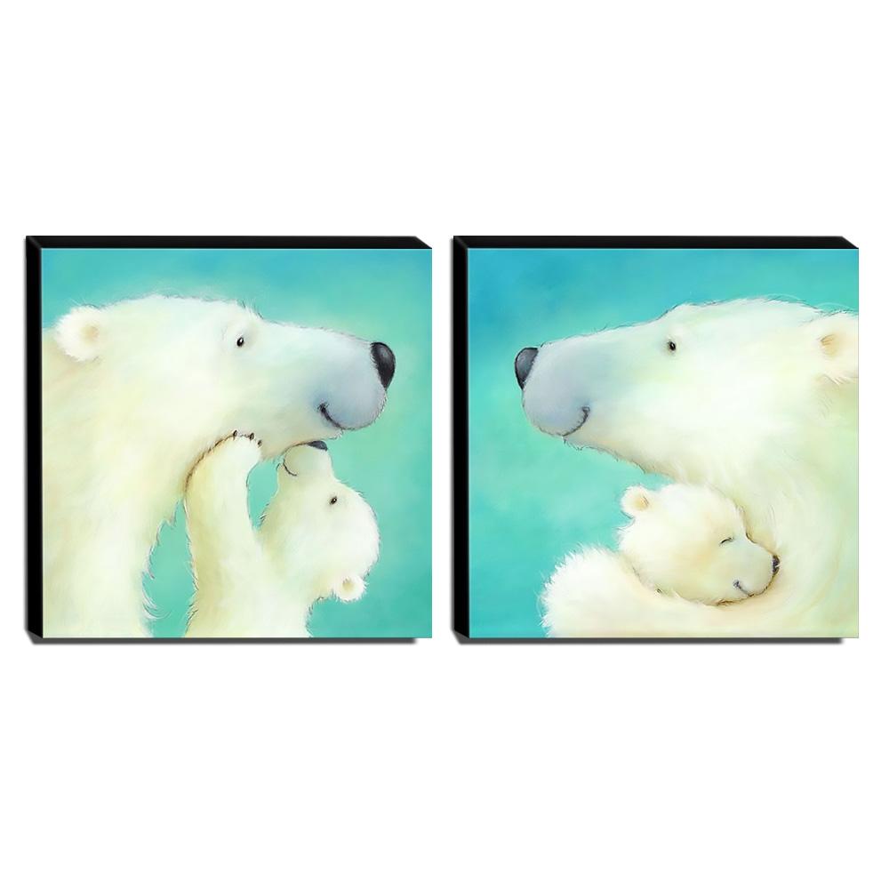 kit 2 Quadros Infantis Ursos Branco Canvas 30x30cm-INF419