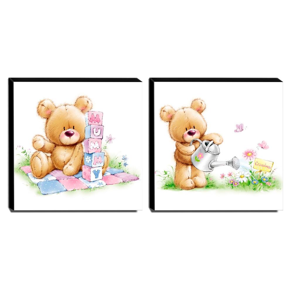kit 2 Quadros Infantis Ursos Canvas 30x30cm-INF415