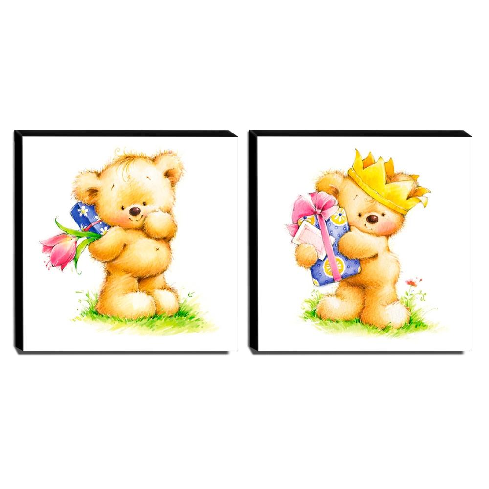kit 2 Quadros Infantis Ursos Canvas 30x30cm-INF420