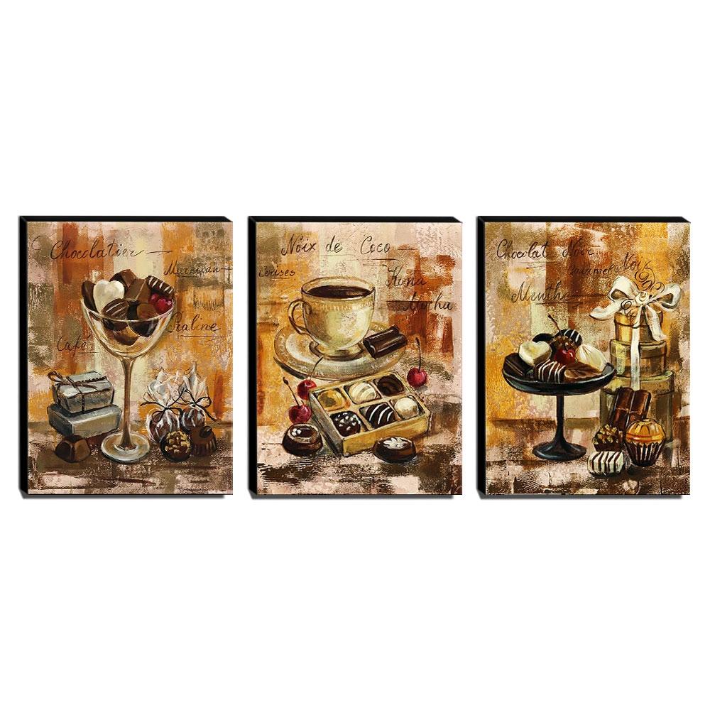 Kit 3 Quadros Cozinha Vintage Café Chocolate Canvas 40x30cm-COZ29