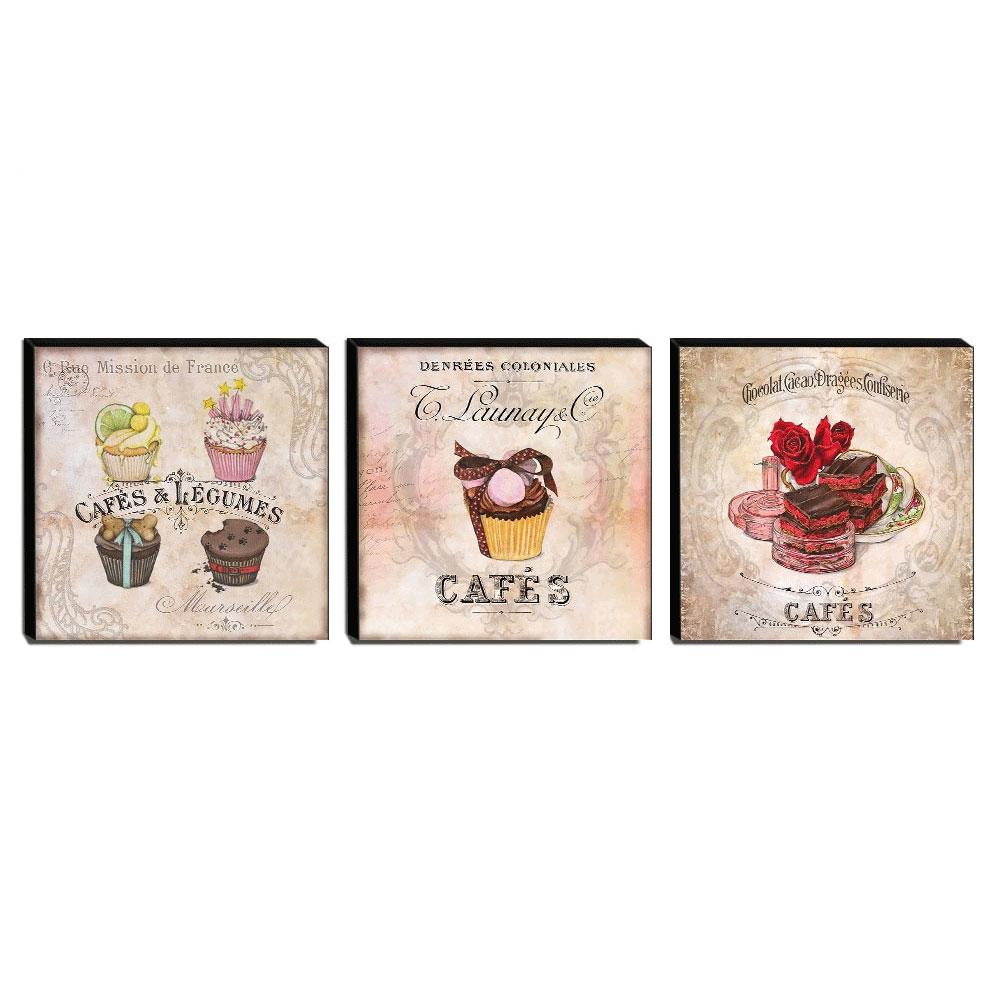Kit 3 Quadros Cozinha Vintage Cupcakes Canvas 30x30cm-COZ03-CDE