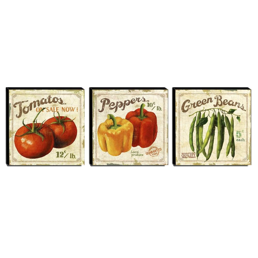 Kit 3 Quadros Cozinha Vintage Legumes Canvas 30x30cm-COZ24