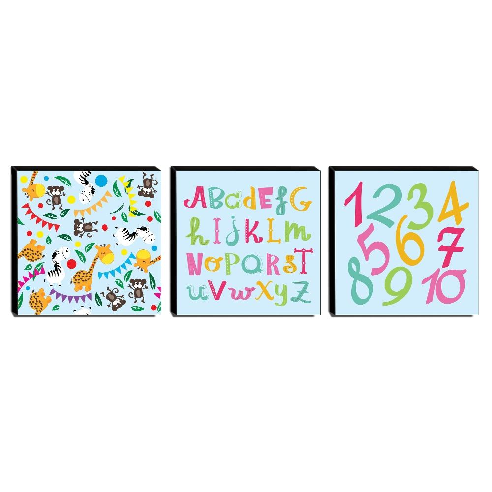 Kit 3 Quadros Infantis Animais Alfabeto Números Canvas 30x30cm-INF260