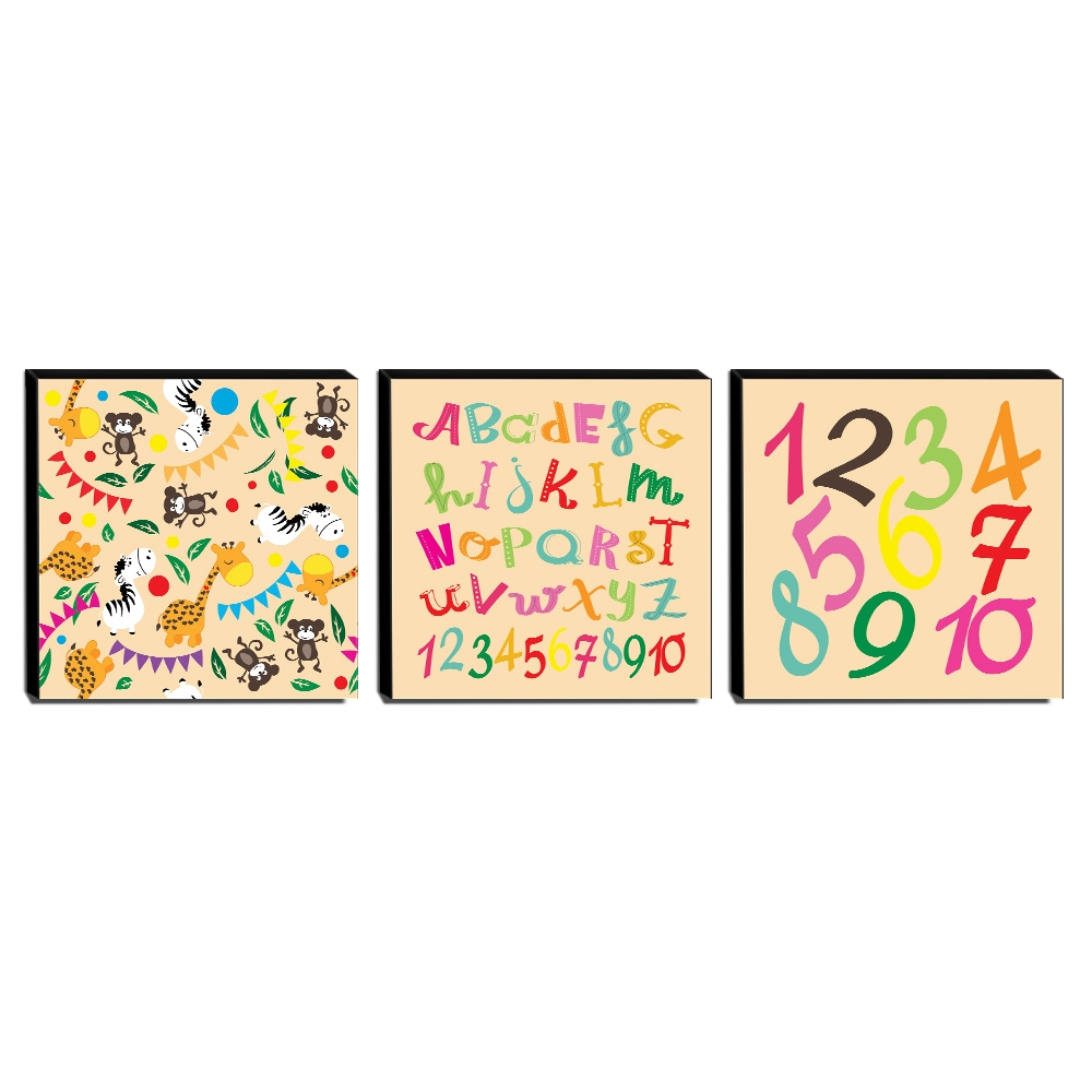 Kit 3 Quadros Infantis Animais Alfabeto Números Canvas 30x30cm-INF261