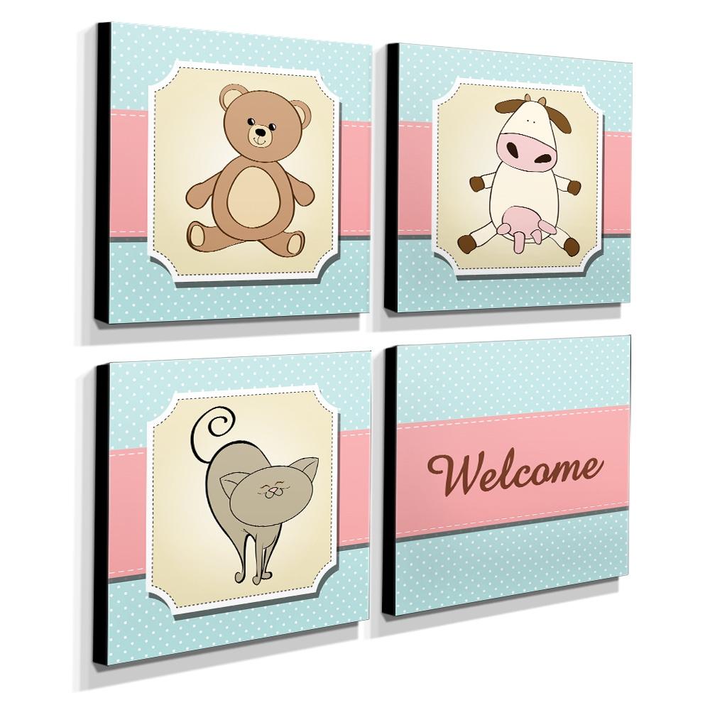 Kit 4 Quadros Infantis Urso Vaca Gato Welcome Canvas 30x30cm-INF229