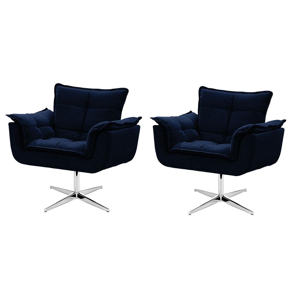 Kit de 2 Cadeiras Decorativa Opala Azul Marinho Base Giratória