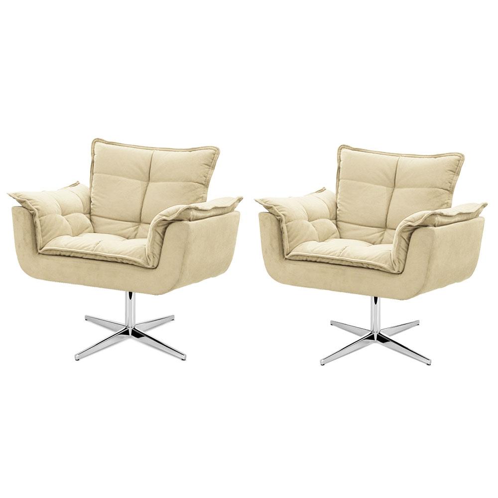 Kit de 2 Cadeiras Decorativa Opala Bege Base Giratória