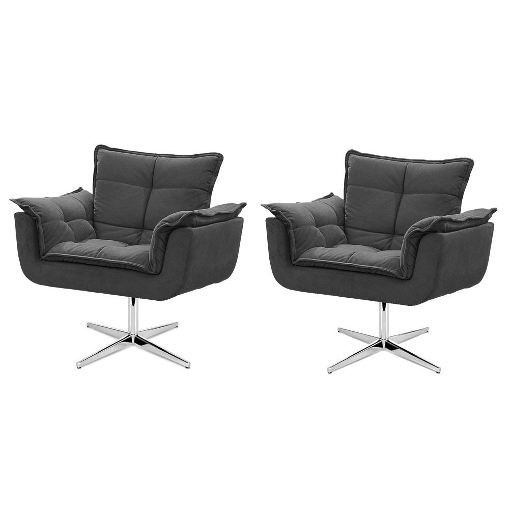 Kit de 2 Cadeiras Decorativa Opala Cinza Base Giratória