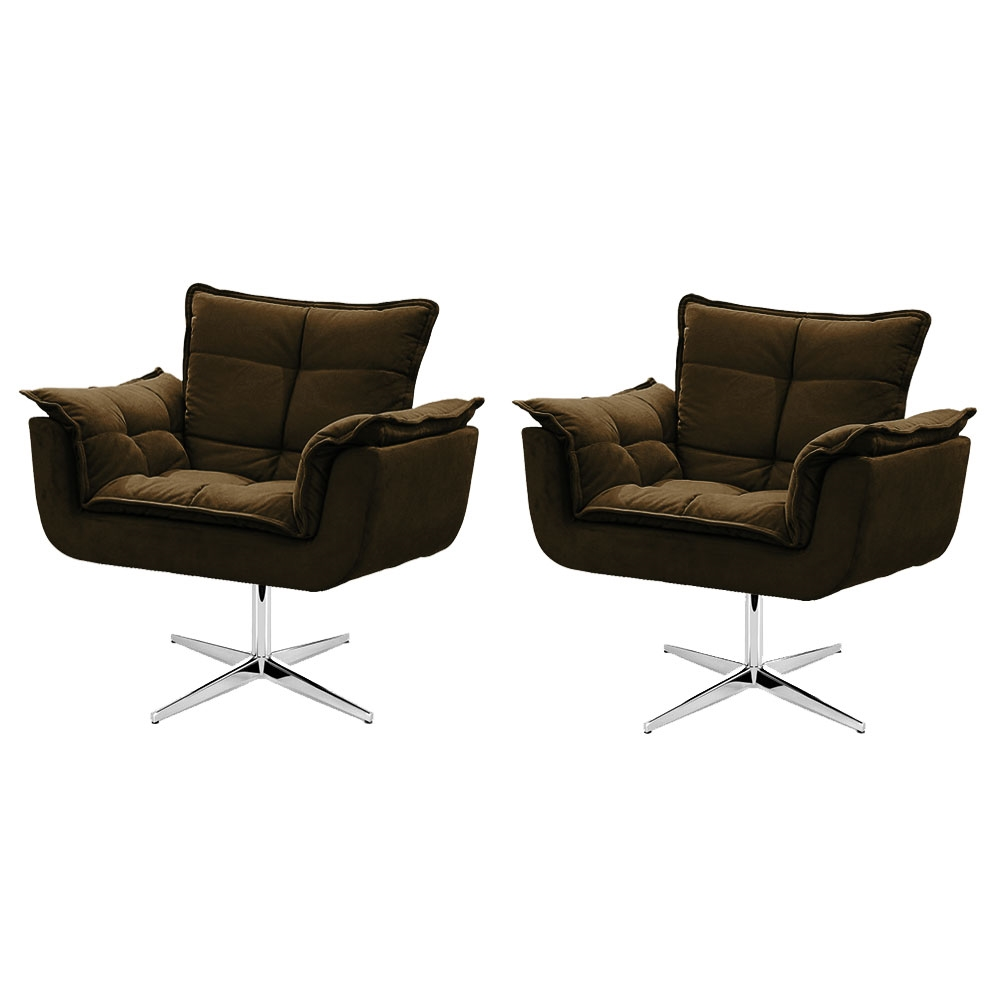 Kit de 2 Cadeiras Decorativa Opala Marrom Base Giratória
