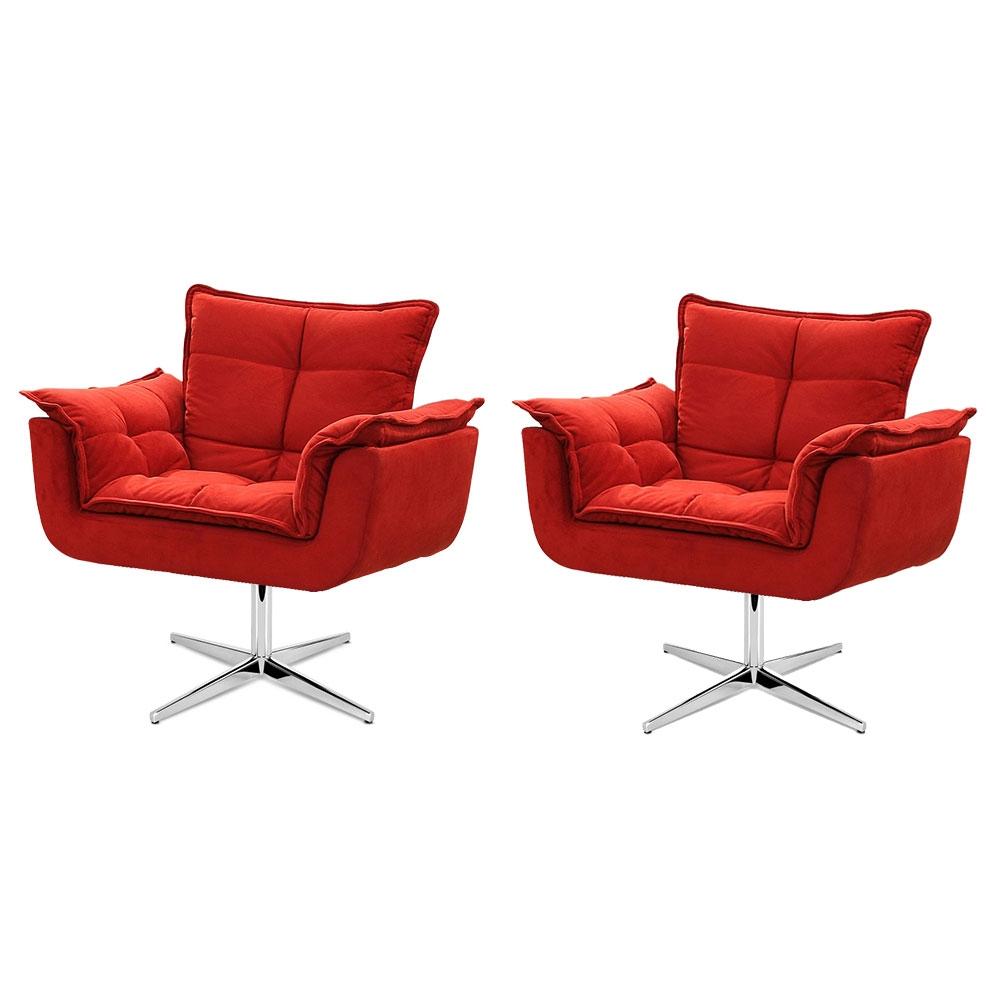 Kit de 2 Cadeiras Decorativa Opala Vermelha Base Giratória