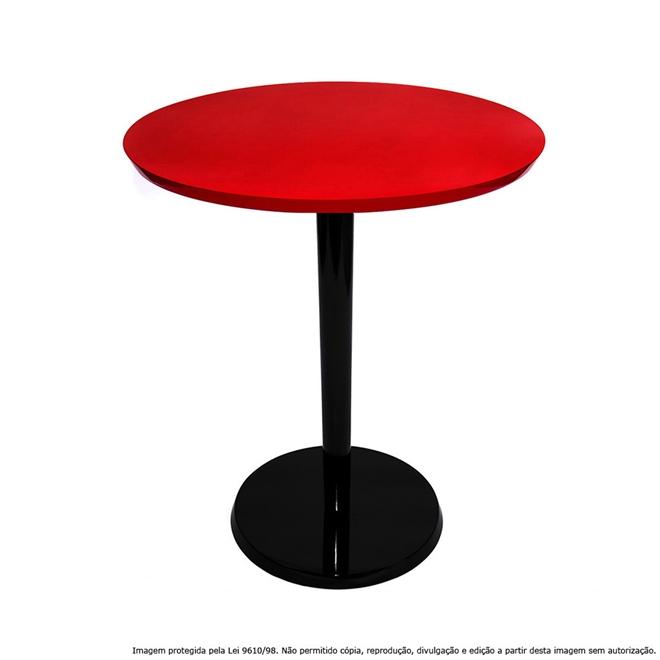 Mesa Lateral de Canto Decorativa Monopé 51x40cm Laqueada Preta e Vermelha