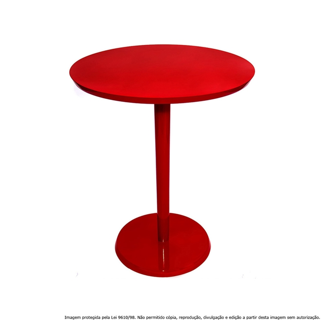Mesa Lateral de Canto Decorativa Monopé 51x40cm Laqueada Vermelha