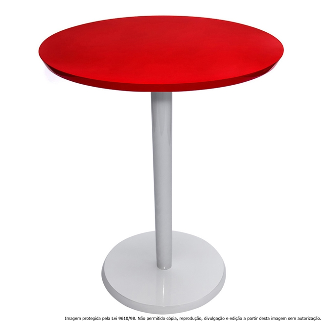 Mesa Lateral de Canto Decorativa Monopé 61x50cm Laqueada Branca e Vermelho