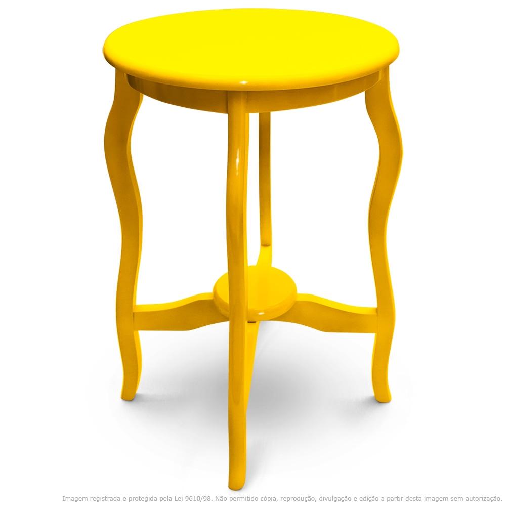 Mesa Lateral De Canto Inglesa Laqueada Amarela
