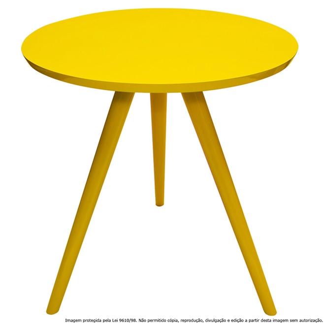 Mesa Lateral de Canto Tripé Laqueada Amarela