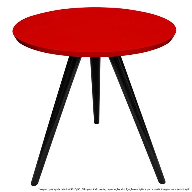 Mesa Lateral de Canto Tripé Laqueada Preta e Vermelha